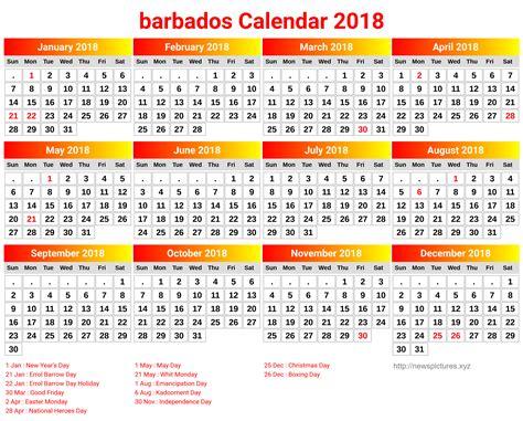 Barbados Calend 2018 Printable Barbados Calendar 2018 Free 2018 Calendar