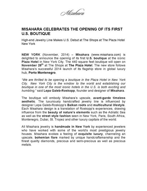 press release misahara store opening plaza hotel new york