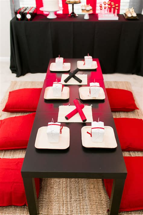 karas party ideas red white black ninja birthday party