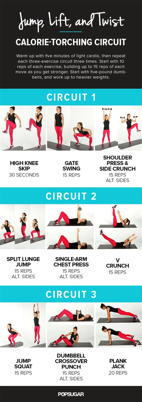 printable workout with plyometrics popsugar fitness