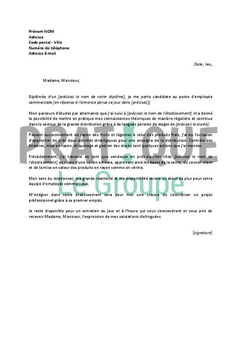 Exemple De Lettre De Motivation Grande Distribution lettre de motivation pour un poste d employ 233 e commerciale