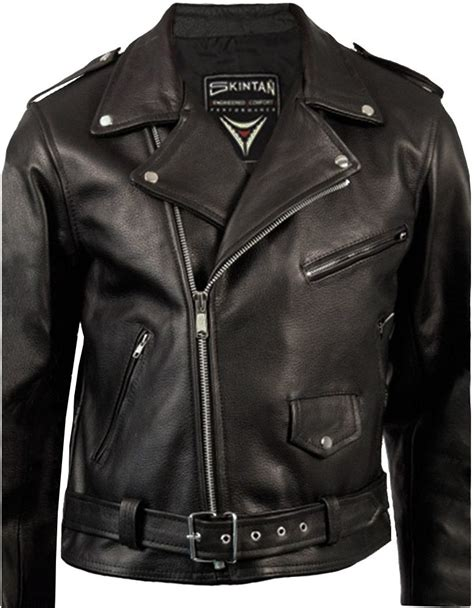biker jacket men leather jacket mens classic brando cowhide skintan