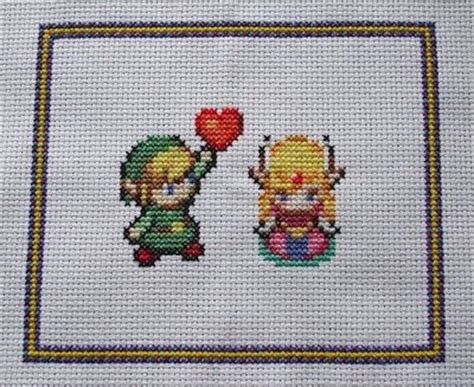 zelda cross stitch pattern zelda and link cross stitch pattern geeking juxtapost