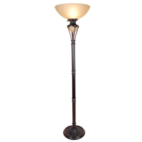 shop allen roth 73 in bronze torchiere floor l with