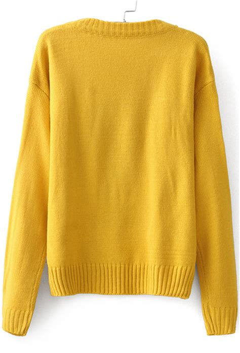 yellow pattern sweater yellow long sleeve snoopy pattern knit sweater victoriaswing