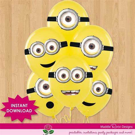 printable minion eyes for balloons despicable me instant download for party favors minion