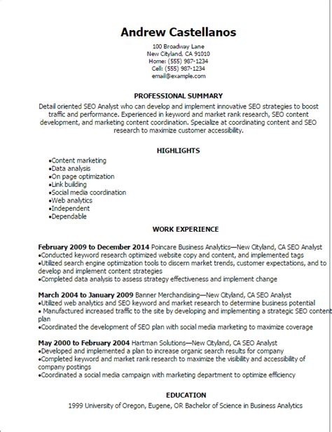 Social Media Analyst Cover Letter by Professional Seo Analyst Resume Templates To Showcase Your Talent Myperfectresume