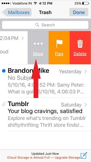 yahoo email going to trash iphone how to move mail from trash to inbox on iphone ios 9
