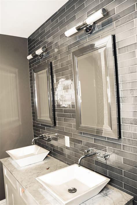 gray subway tile bathroom Bathroom Traditional with feature tile gray subway   beeyoutifullife.com