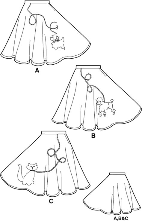 Poodle Skirt Applique Template by Simplicity Pattern 5403 Costume 50 S Poodle Circle