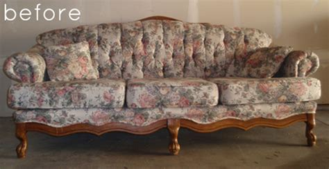 how to reupholster a victorian couch before after reupholstered sofa with custom fabric