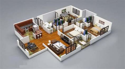 Designs for living spaces with 3 bedrooms with 3d detailed floor plans