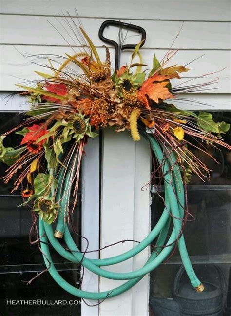 garden hose fall wreath garden hoses pinterest