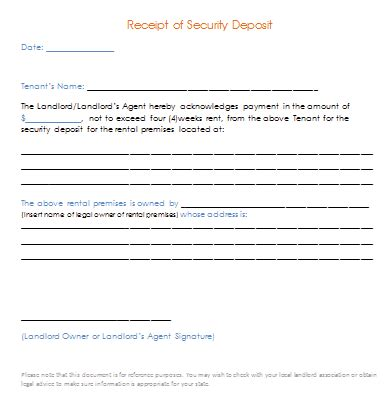 Security Deposit Receipt Template Uk by Security Deposit Receipt Template