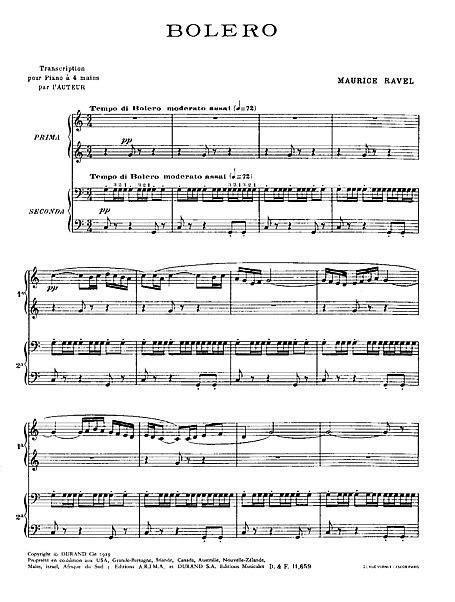 Boléro Pianoforte a Quattro Mani - Spartiti - Cantorion