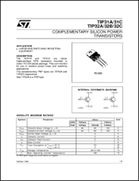 transistor tip31c datasheet tip31c datasheet complementary silicon power transistors from