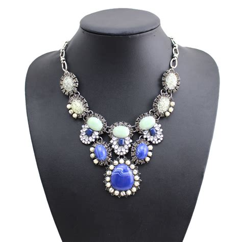 n08228 women fashion jewelry blue bauble statement