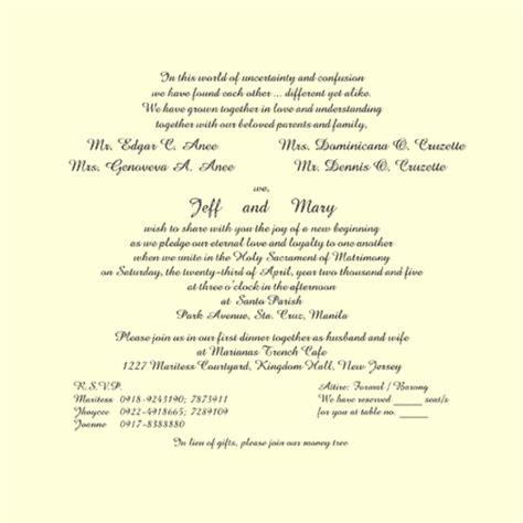 wedding invitation template tagalog wedding invitation text sles