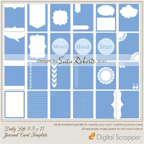 project journaling card template daily 8 5 x 11 journal card template