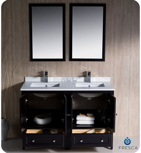 Fresca Oxford 48 Quot Double Sink Bathroom Vanity Espresso Finish 48 Bathroom Vanity Sink