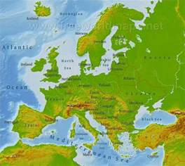 Physical Map Of Western Europe by Physical Map Of Europe Western Asia And Northern Africa