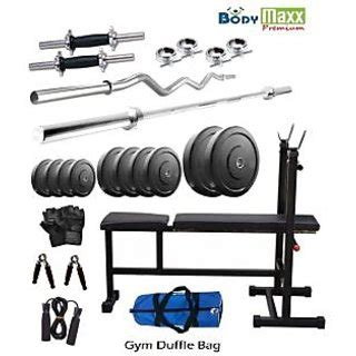 complete weight set with bench 85 kg body maxx home gym weight lifting package with multi