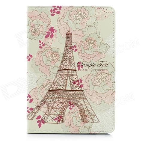 Air 5 Vintage Flowers Emboss Flowers Leather Cover flower eiffel tower pattern protective pu leather for