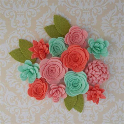Handmade Wool Flowers - handmade wool felt flowers papaya celadon