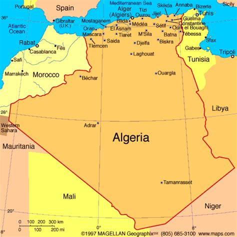 algeria map with cities algeria map and algeria satellite images