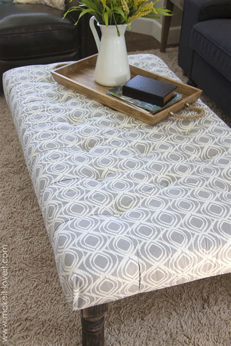 ottoman coffee table fabric diy tufted ottoman from an old kithen table or coffee