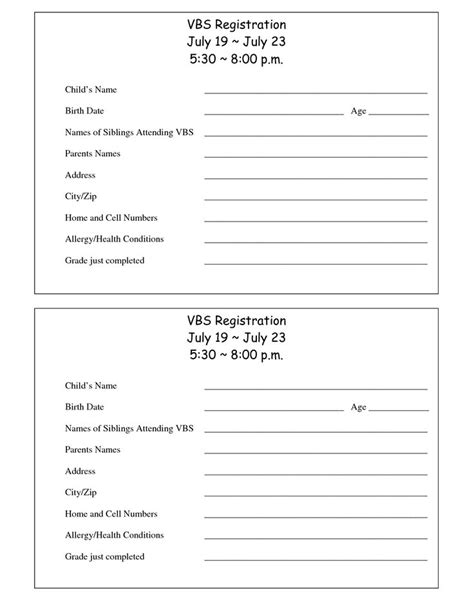 template registration form printable vbs registration form template conference