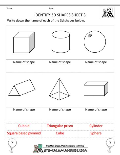 Three Dimensional Shapes Worksheets For Grade by Kindergarten 3 Dimensional Shapes Shapes Worksheets