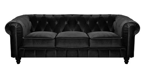 deco in canape 3 places velours noir chesterfield