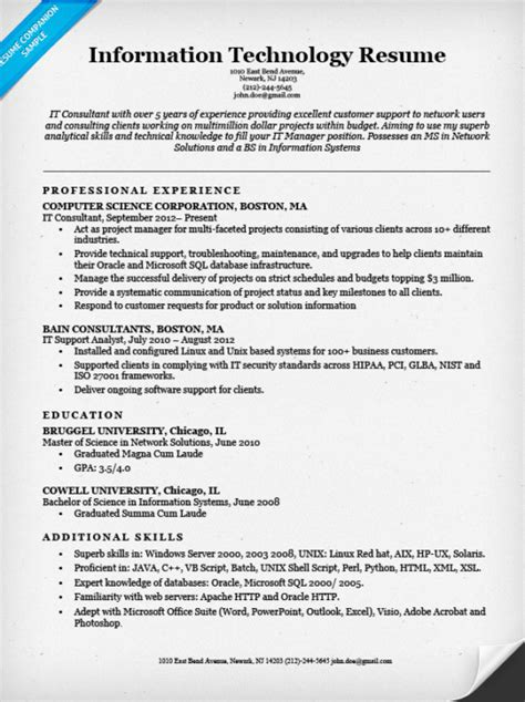 Cover Letter It Professional Skill by Information Technology It Resume Sle Resume Companion