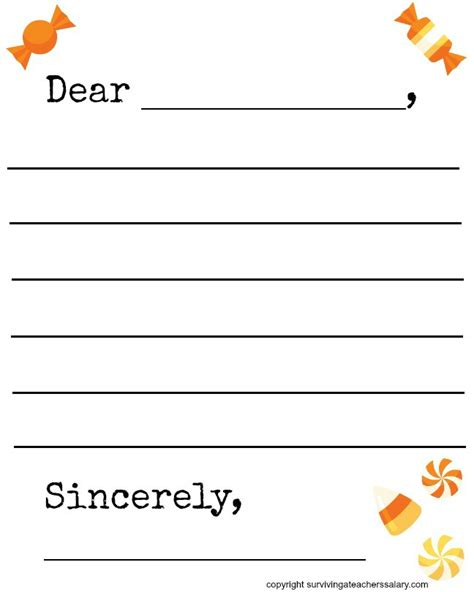 Free Fall Candy Themed Letter Template Printable Surviving A Teacher S Salary Letter Template Free Printable