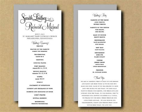 program card wedding template 9 best images of free printable diy wedding programs