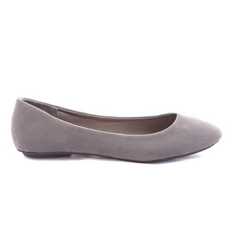 womens grey flat shoes s slip on flats ballet shoes ballerina simple loafer