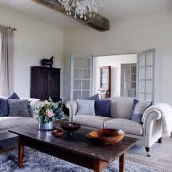 Blue Gray Upholstery Fabric New Home Interior Design Traditional Living Room