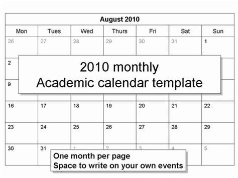 free 2010 academic calendar