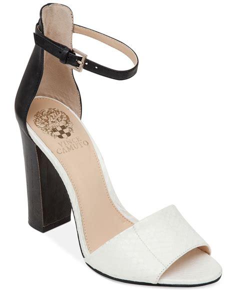 white dress sandals for lyst vince camuto velenza block heel ankle dress