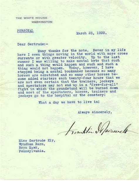 Franklin Lett Also Search For Franklin D Roosevelt Personal Letter Policy Pinter