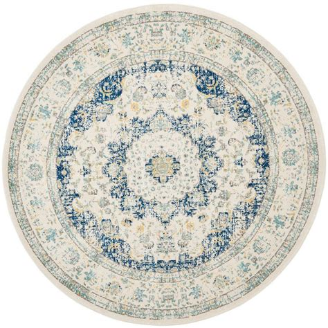 round accent rug safavieh evoke ivory blue 6 ft 7 in x 6 ft 7 in round