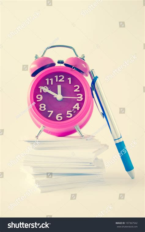 Hybrid Alarm Clock Concept by Alarm Clock Pennote Paperfor Organize Concept Stock Photo