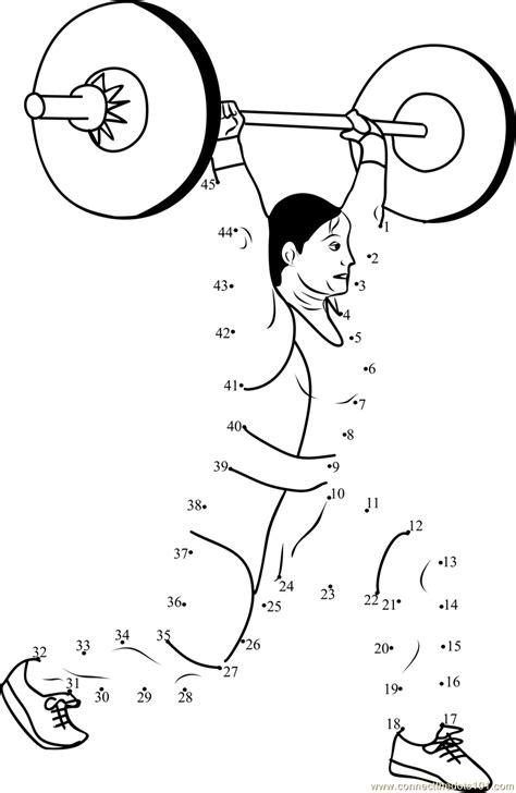 printable dot to dot sports women weight lifting dot to dot printable worksheet