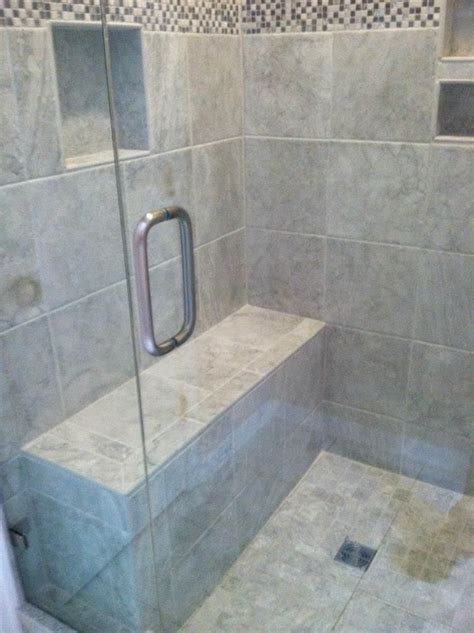 bench in shower tile shower with bench bath remodel honey do handyman