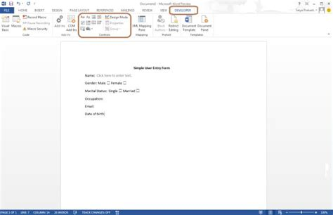 design form word 2013 create user entry form in word 2013