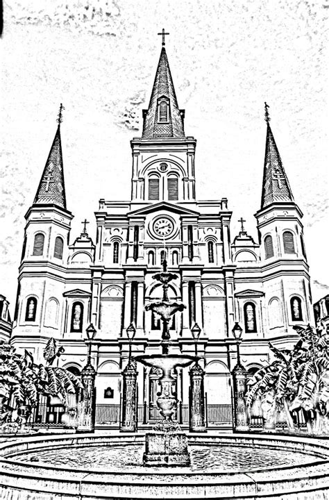 french quarter coloring page st louis cathedral and fountain jackson square french