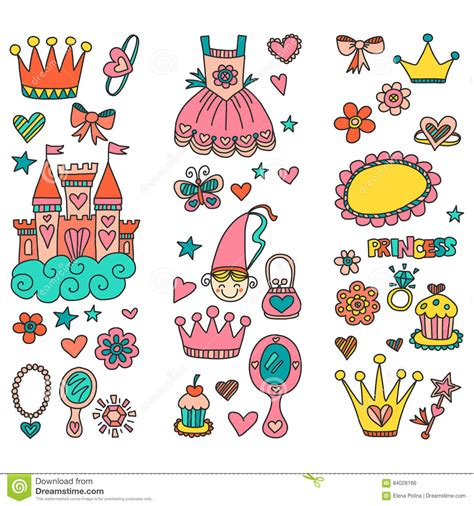 how to create elements in doodle my princess doodle elements stock vector