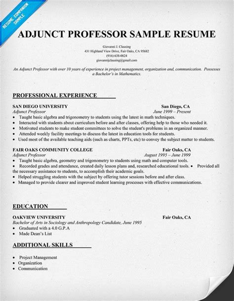 adjunct professor sample resume resume builder