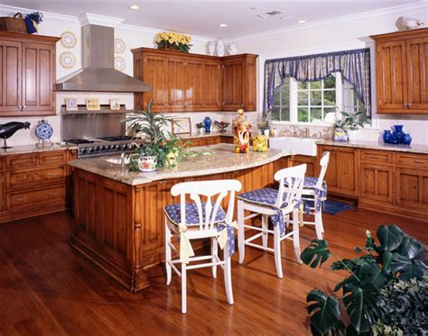 yellow and blue country kitchen